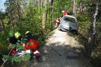 Der Alfa Romeo blieb stecken. (Bildquelle: Stadtpolizei Winterthur)