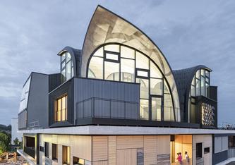Die Unit HiLo thront auf der obersten Plattform des Forschungs- und Innovationsgebäudes NEST auf dem Empa-Campus in Dübendorf, Schweiz. Foto: Roman Keller