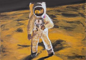 """Bild: gemalt von Misha Sommer, bezugnehmend auf das Originalfoto  """"Man on the Moon / Apollo 11"""""""