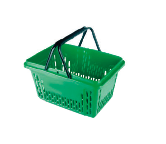 Einkaufskorb grün, ohne Logo-Druck, 28 Liter, 2-Griffe in schwarz