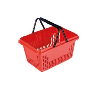 Einkaufskorb rot, unbedruckt, 20 Liter, 2-Griffe in schwarz