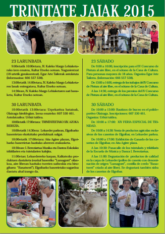 Cartel y programa de las Fiestas de Trinidad - Trinitate Jaiak en Elgoibar 2015 Feria de Artesanía