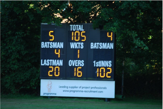 The scoreboard shows the winning margin as Swiss U13's pass the finishing line to win comfortably