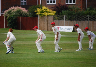 Four slips look on as Max H takes another just past the outside edge. From 1st to 4th slip – Wilf, Ray, Sabarish & Kabir