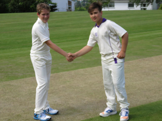 Captains Marc Veal & William shake hands after the toss, v St John's