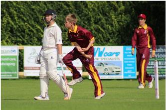 Tom bowling for Suffolk U15