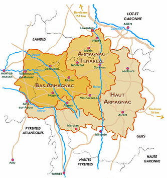 Map of Armagnac Appellations