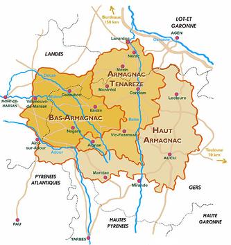 Map of Armagnac Appellations