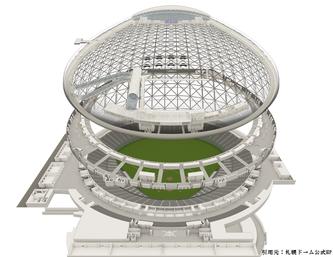 2階建て工事の設計図(札幌ドームホームページより)