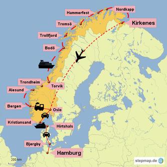 Bild: Karte der Rundreise mit Auto, Schiff und Flugzeug durch Norwegen