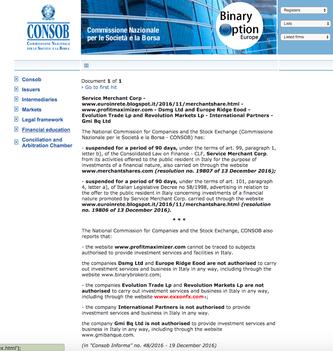 exxonfx consob denuncia avvertimento avviso forex