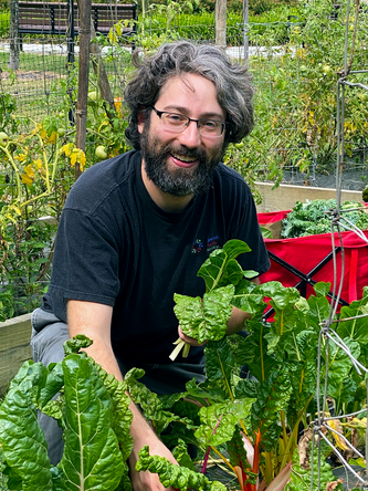 Jonathan Magrisso pulls vegetables for Jewish Family Service Heldman Family Food Pantry from the garden at Hebrew Union College-Jewish Institute of Religion.