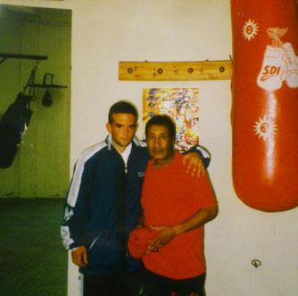 Marco Spath mit Nationaltrainer Marokko, Trainingscamp 1999 in Rabat beim Ex-Militärweltmeister im Amateurboxen