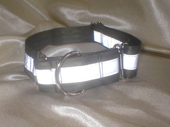 Martingale, Halsband, 4cm, Gurtband olivgrün, refelx streifen