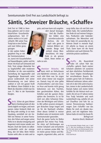 """St. Galler Bauer, 25.4.2014, """"Säntis, Schweizer Bräuche, """"Schaffe"""""""""""