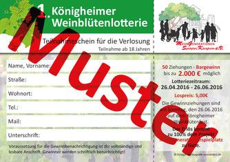 Königheimer Weinblütenlotterie MGSK Förderverein Musterlos Vorderseite