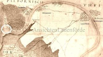 Karte um 1600, Norden unten, Karlshafen, siehe Kreis, existierte noch nicht.