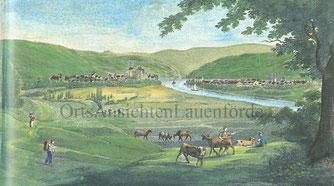 Eine Zeichnung, Gemälde um um 1700. Blick nach Norden, Beverungen links, Lauenförde rechts.
