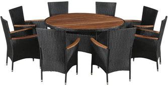 set giardino +acacia +sedie +outdoor +polirattan +8 +tavolo #rattan