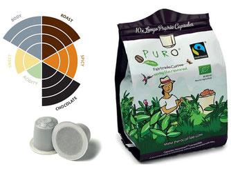 Kompostierbare Kaffeekapseln für das Nespresso-System.von Puro