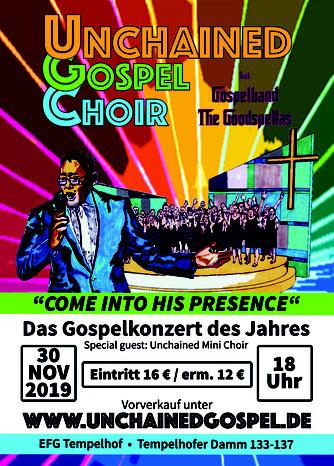 Konzertflyer für unser Gospelkonzert am 30.11.2019