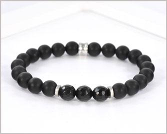 Edelsteinarmband für Männer mit Achat und Obsidian