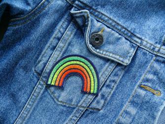 Bild: Patch für Jeansjacke Regenbogen neon bunt