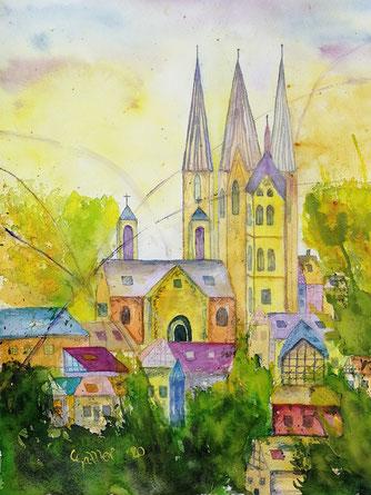 Gelnhausen, Kirchenblick, Fachwerkhäuser, helle Farben, Aquarell, lila, orange, blau, gelb, rot, gün, Bäume