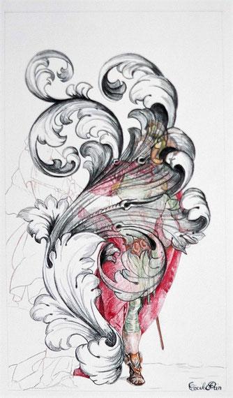 Héros n° 4. Crayon de couleur/papier. 33 x 19