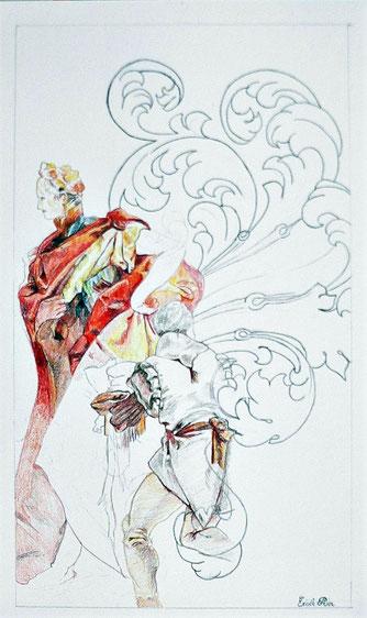 Héros n° 5. Crayon de couleur/papier 33 x 19