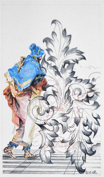 Héros n° 3. Crayon de couleur/papier. 33 x 19