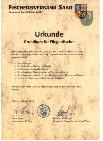 Urkunde für Fliegenfischer  -  Свидетельство рыбака для рыбалки нахлыстом