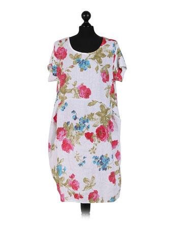 Weißes Sommerkleid aus Leinen mit Blumen