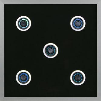Beleuchtung der 5 € Polymerring Münze Blauer Planet Erde 2016 durch den Lux I beleuchteten LED Münzrahmen.