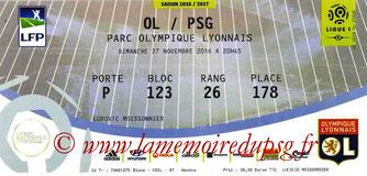 Ticket  Lyon-PSG  2016-17