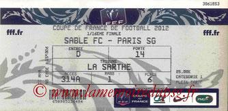 Ticket  Sablé sur Sarthe-PSG  2011-12