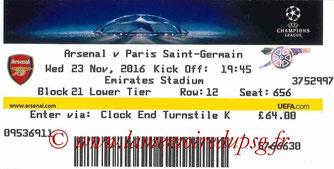 Ticket  Arsenal-PSG  2016-17