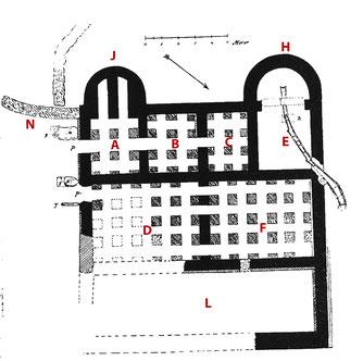 Abb. 3: Grundriss des Badegebäudes aus den Grabungen i, Jahr 1898.