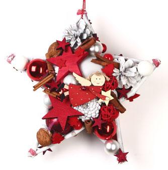 30 cm Stern in rot-weiß
