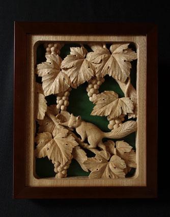 壁掛け 葡萄にリス 木彫り