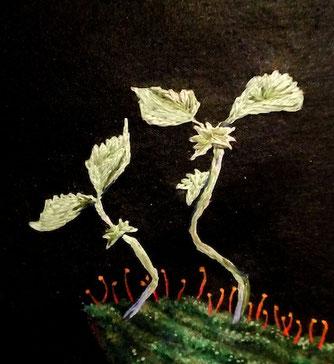 leaf, new, embroidery, plant, eureka, canvas, artwork, mixedmedia