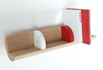 projet design,Bibliothèque en chêne pour designers.CCL ébéniste