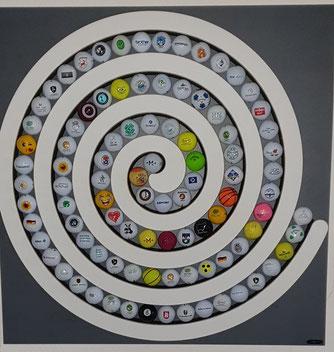 Gofball Vitrine Sammler Golfbälle Spirale Wandhalter Logobälle