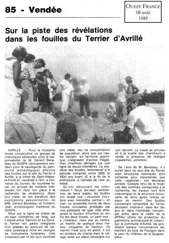 1989 - sur la piste des révélations dans les fouilles du Terrier d'Avrillé - Ouest France