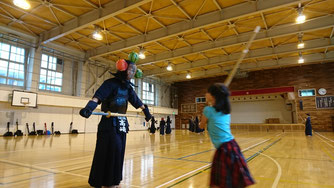 剣道体験 紙風船割り