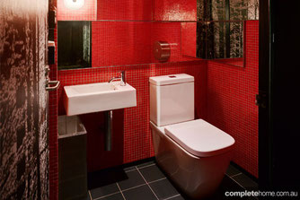 Get the look: Red, modern bathroom