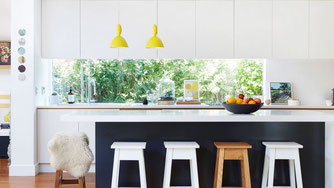 Equally treasured are Gorman's graphic kitchen pendent lights by Muuto