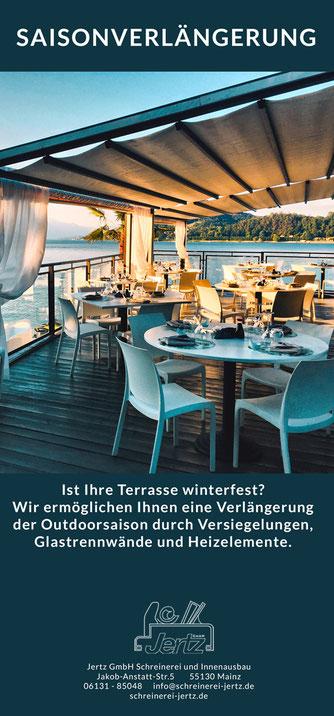 Verlängerung Outdoor living saison sommer herbst Terrasse Garten Sommergarten Überdachung Schreinerei Jertz Mainz