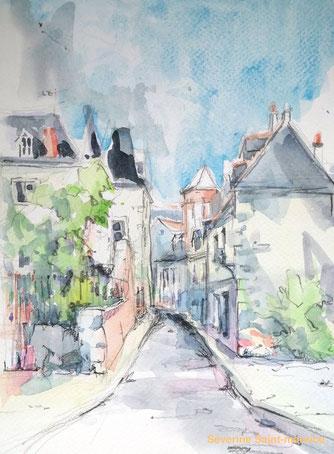 le vieux tours, quartier historique de tours, centre de tours, severine saint-maurice, lescerclesdelumiere.com, dessin, dessin en plein air
