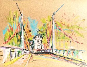 le pont de fil, severine saint-maurice, lescerclesdelumiere.com, dessin, dessin en plein air
